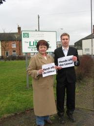 Cllr Bron Witherford and Michael Mullaney protesting outside the Limes Care Home