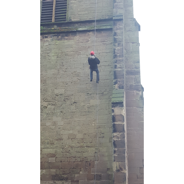 Michael Mullaney abseiling down St Mary's Church Hinckley