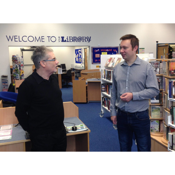 Local author Stewart Bint and Michael Mullaney discuss need to keep Barwell Library open