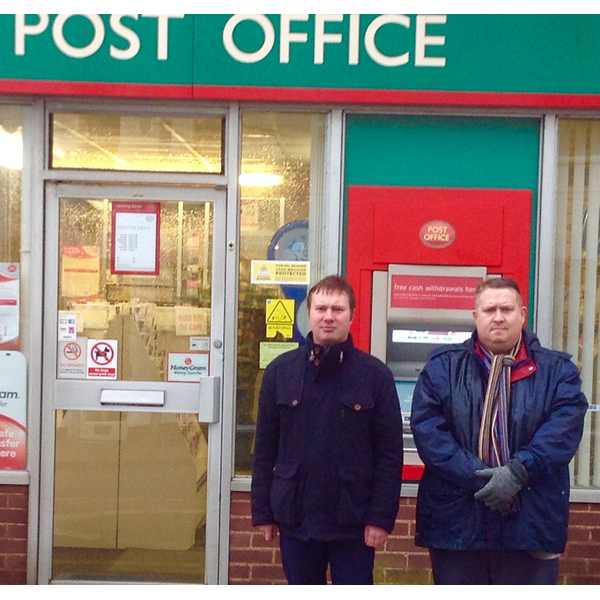 Cllr Michael Mullaney and Mathew Hulbert outside the Barwell Post Office