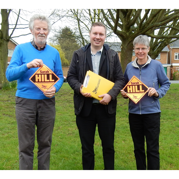 Sarah Hill with Burbage County Councillor Keith Lynch and Hinckley County Councillor Michael Mullaney, who are backing Sarah for PCC