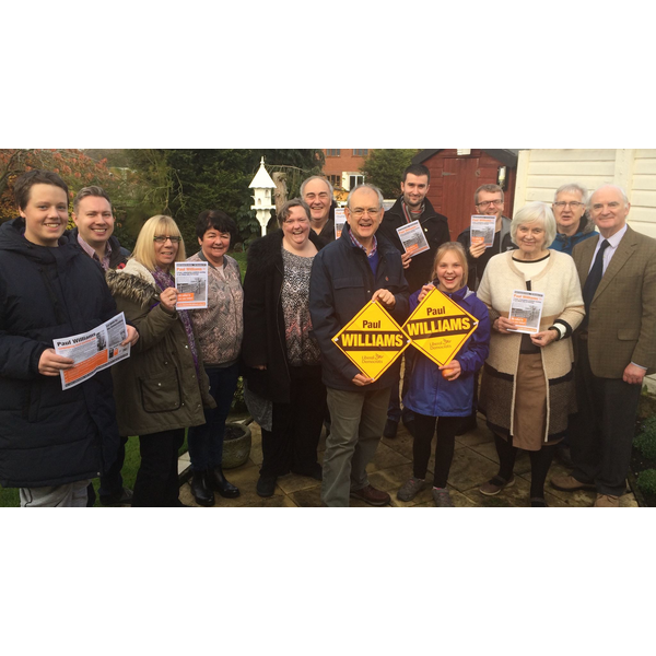 Paul Williams the new Lib Dem Burbage Parish Councillor and supporters