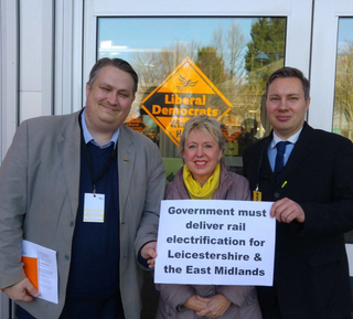 Cllr Michael Mullaney and Mathew Hulbert with Baroness Lorely Burt who backs the campaign for the electrifcation of the Midland Mainline