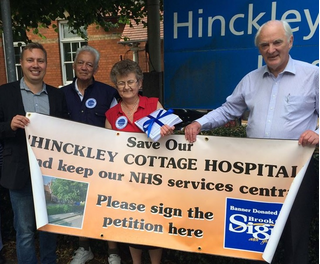 Local NHS campaigners Michael Mullaney, Dave Mayne, Lynda Gibbs and David Bill with the Hinckley NHS petitions