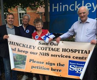 Local NHS campaigners Michael Mullaney, Dave Mayne, Lynda Gibbs and David Bill with the Hinckley NHS petitions