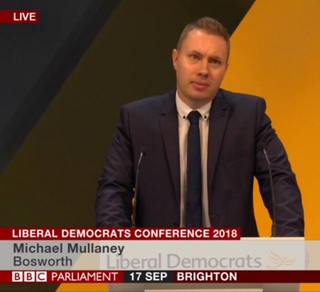 Michael Mullaney speaking against plans to abolish Hinckley and Bosworth at the national lib Dem conference