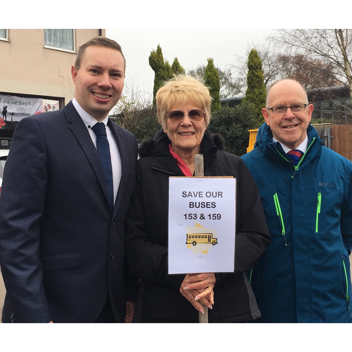 Michael Mullaney Joyce Crooks and Bill Crooks campaigning to save local bus services