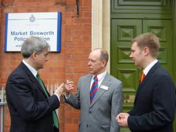 Chris Huhne MP, Cllr Bill Crooks and Michael Mullaney discuss the campaign to re-open Market Bosworth Police Station