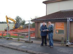 Deputy leader of Bosworth Council Cllr Stuart Bray shows Robin Webber-Jones the new plans for Markfield Community Centre