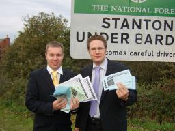 Lib Dem campaigners Michael Mullaney and Robin Webber-Jones with some of the petitions against the incinerator