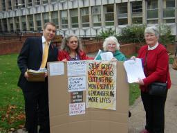 Michael Mullaney and Members of Hinckley Pensioners Action Group with the 4,500 petitions against the cuts