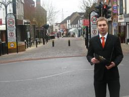 Michael Mullaney with the survey on Castle Street, Hinckley