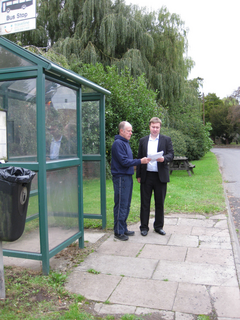 Cllrs Bill Crooks and Michael Mullaney at Sheepy Magna one of the stops on the route
