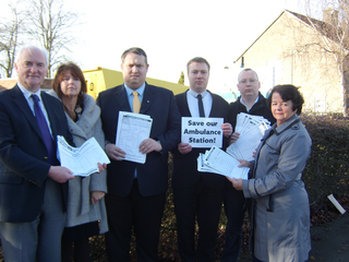 Local Lib Dem campaigners with petitions collected to save Hinckley's Ambulance Station