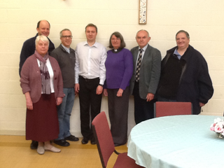 Michael Mullaney meets with members of the St Mary's Church Hinckley to discuss Christian Aid's