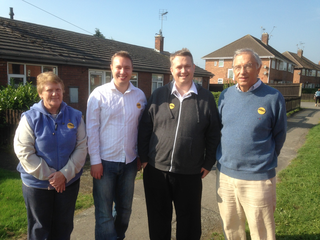 Local campaigners Charlotte Green, Michael Mullaney and Mathew Hulbert in Desford with local MEP Bill Newton Dunn