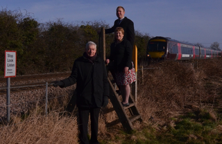 Cllrs Michael Mullaney, Charlotte Green and Michael Gould campaign for re-opening of Elmesthorpe station